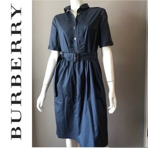 BURBERRY BLUE SHIRT DRESS PLAID UNDER COLLAR SZ 8